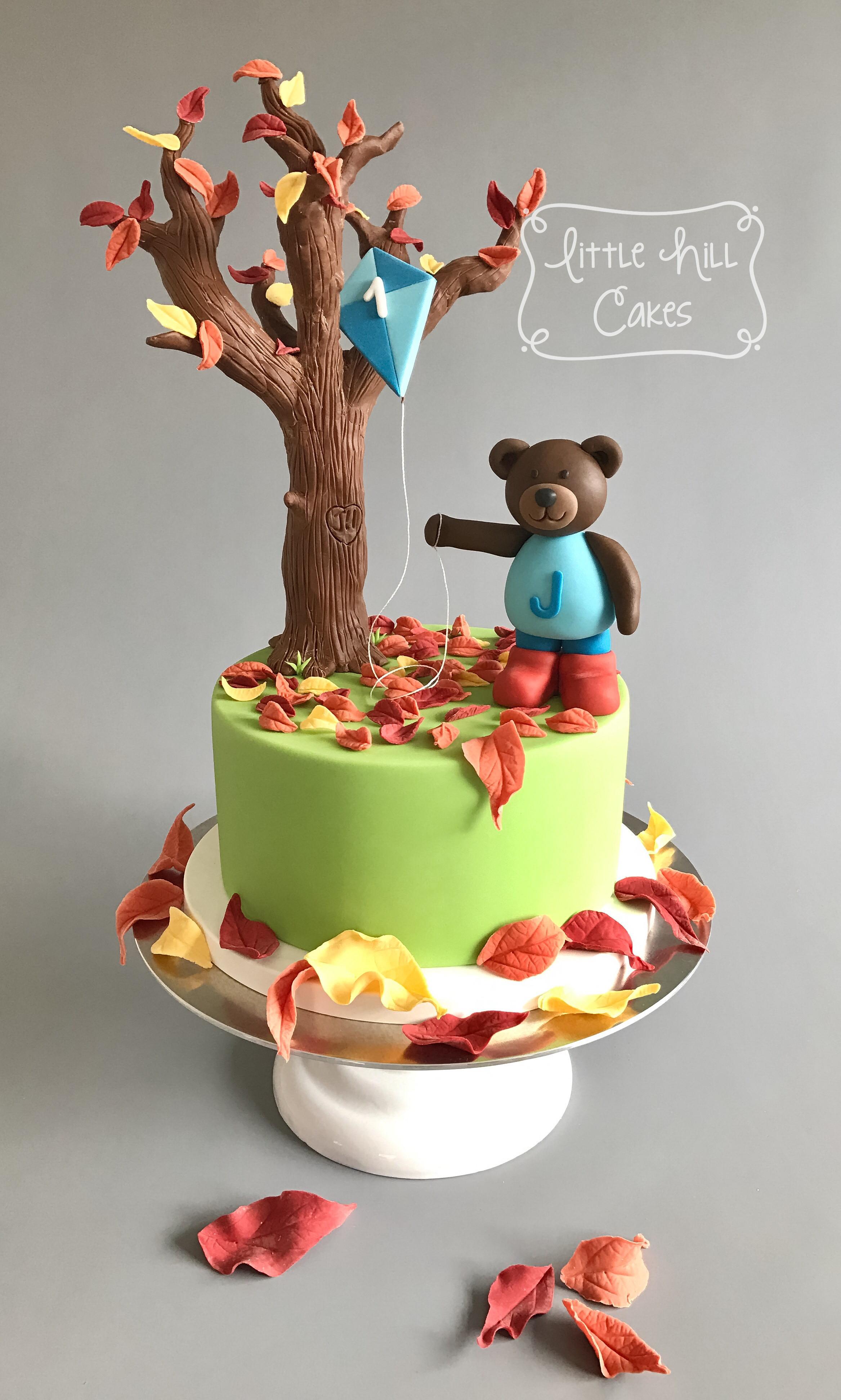 Fall Birthday Cake  Autumn Fall Teddy Bear 1st Birthday Cake