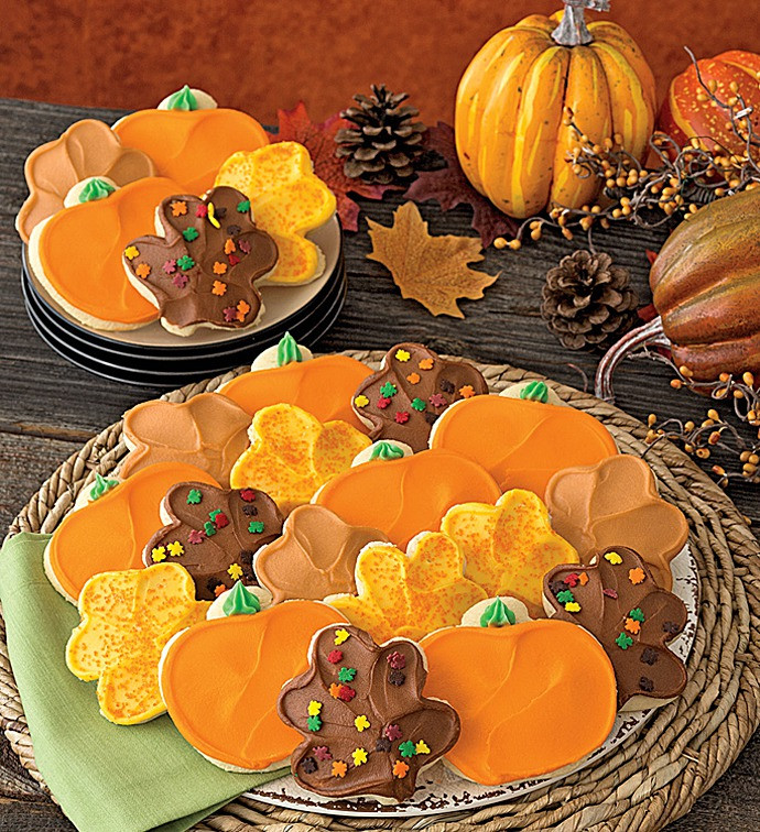 Fall Cut Out Cookies  Buttercream Frosted Thanksgiving Leaf and Pumpkin Cut out