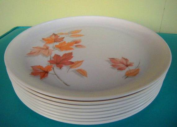 Fall Dinner Plates  8 vintage fall leaf melmac dinner plates by vintagegoo s