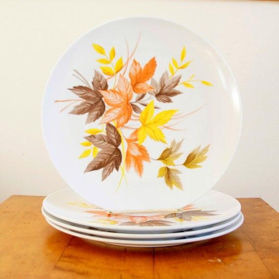 Fall Dinner Plates  Autumn Leaves Plates Melamine Dinner Plates Texas Ware