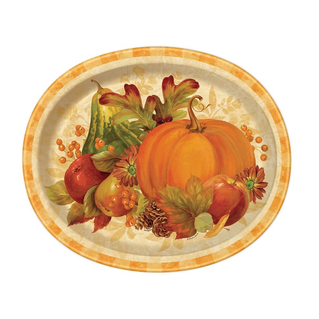 Fall Dinner Plates  Pumpkin Harvest Fall Oval Paper Plates