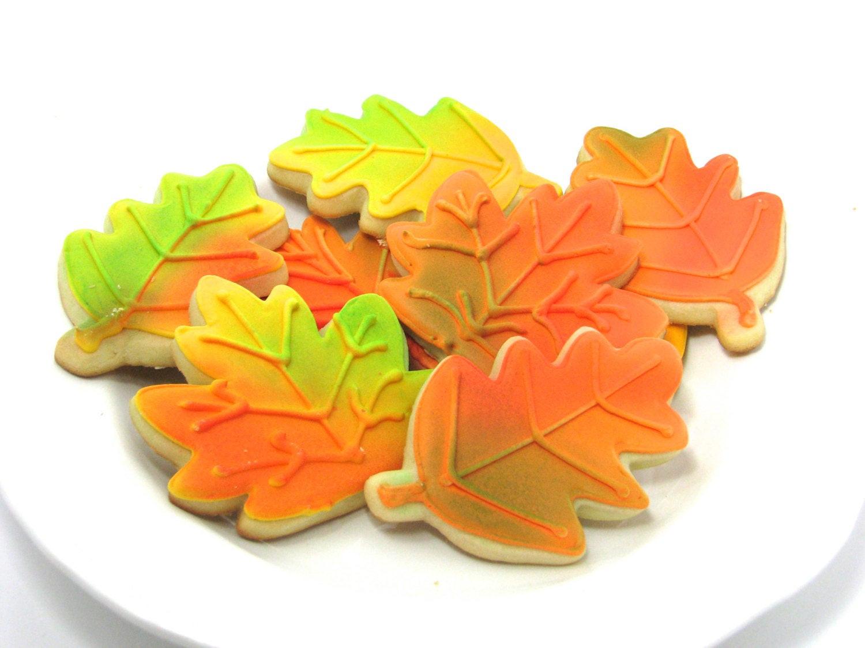 Fall Leaf Sugar Cookies  Decorated Fall Leaves Sugar Cookies