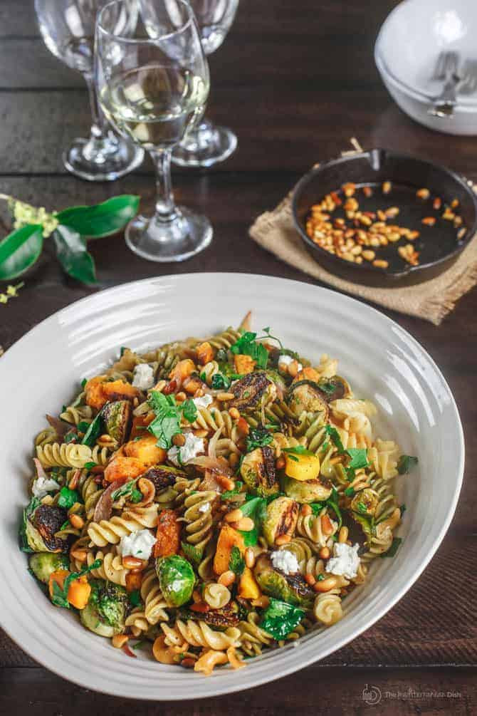 Fall Pasta Salad  Pasta salad with butternut squash and brussels sprouts