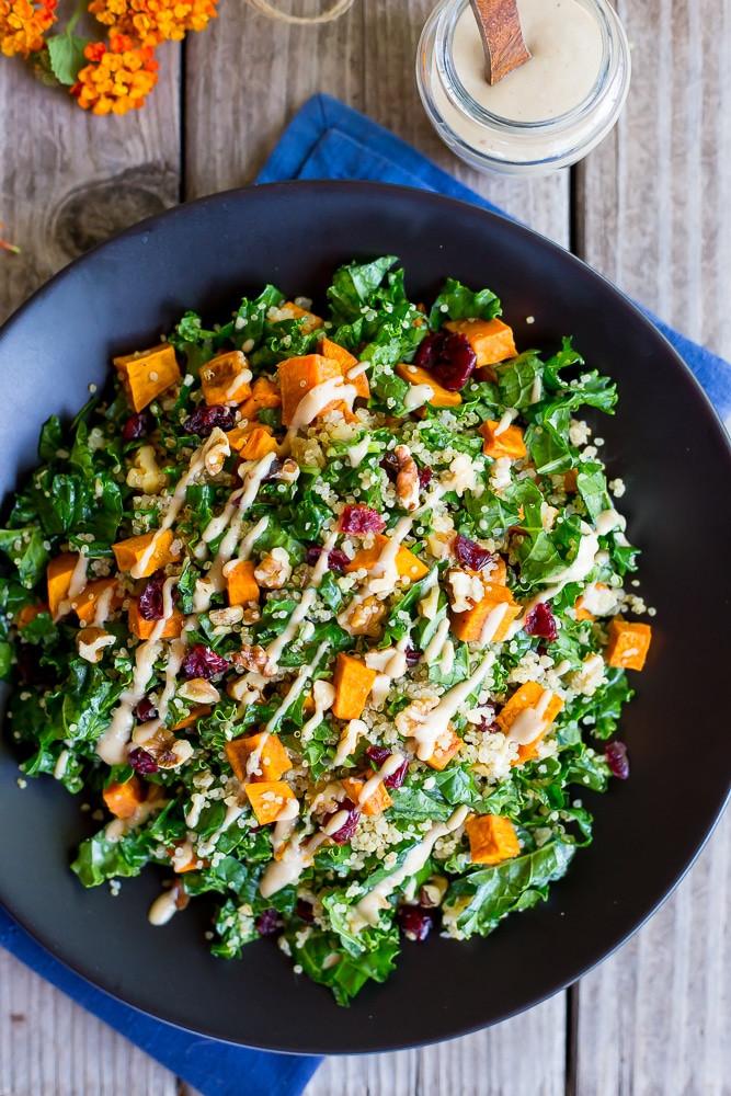 Fall Quinoa Salad  Fall Quinoa Salad with Kale Sweet Potato & Maple Tahini