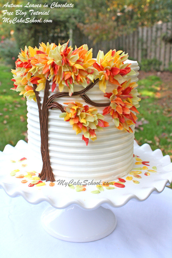 Fall Themed Birthday Cake  Autumn Leaves in Chocolate Blog Tutorial