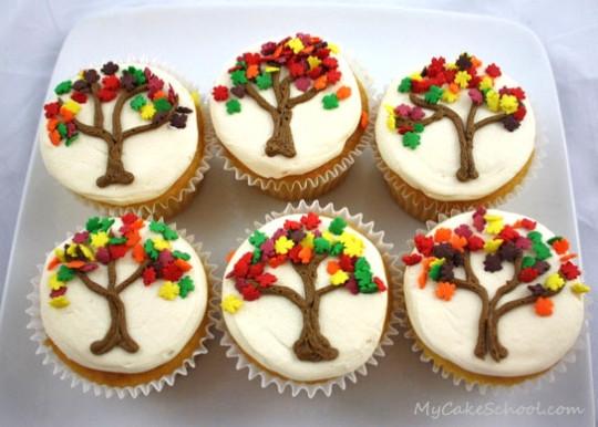 Fall Themed Cupcakes  Autumn Tree Cupcakes