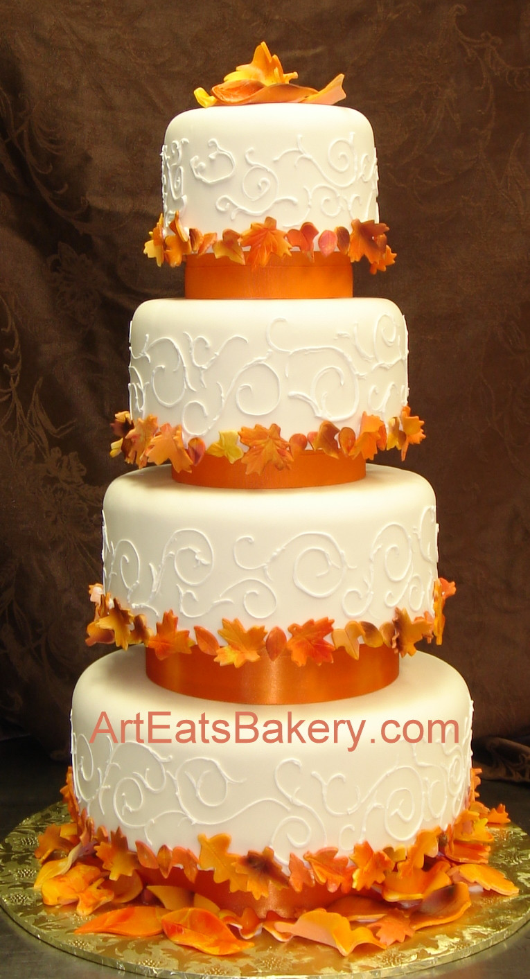 Fall Wedding Cakes Pictures  Four tier custom designed fall leaves wedding cake with