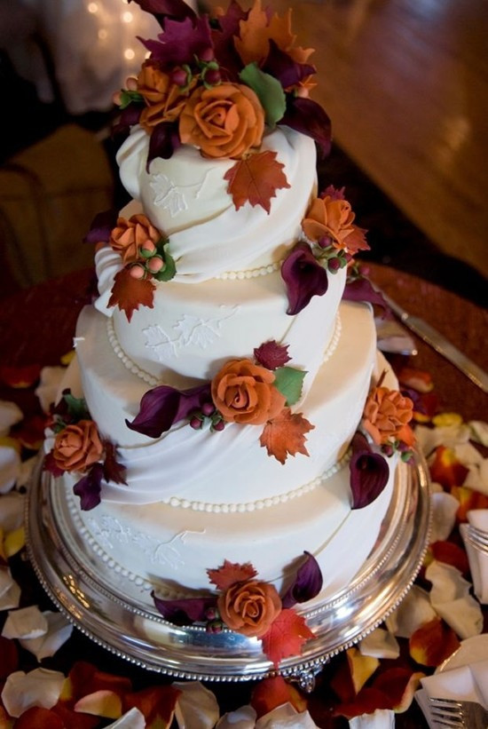 Fall Wedding Cakes Pictures  Fall Wedding Ideas And Invitations Purple And Orange Wedding