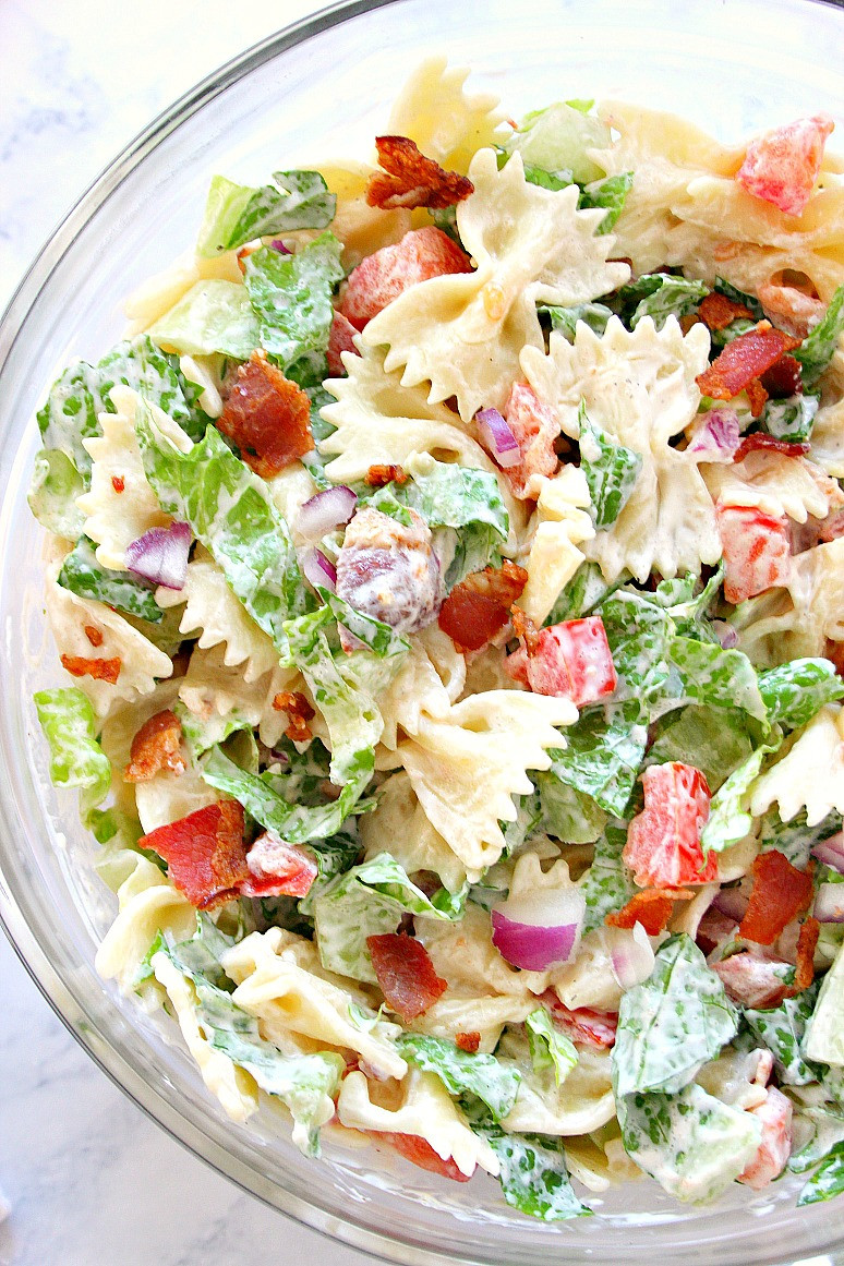 Farfalle Pasta Salad Recipe  BLT Pasta Salad Recipe Crunchy Creamy Sweet