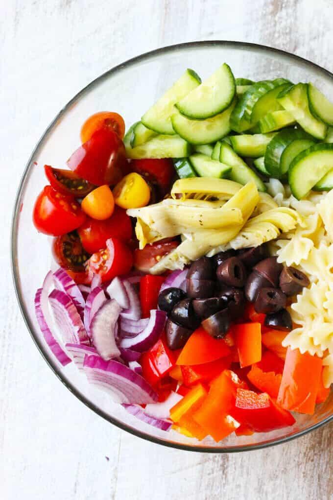 Farfalle Pasta Salad Recipe  Farfalle Pasta Salad Mediterranean Style w Mini Bow Tie