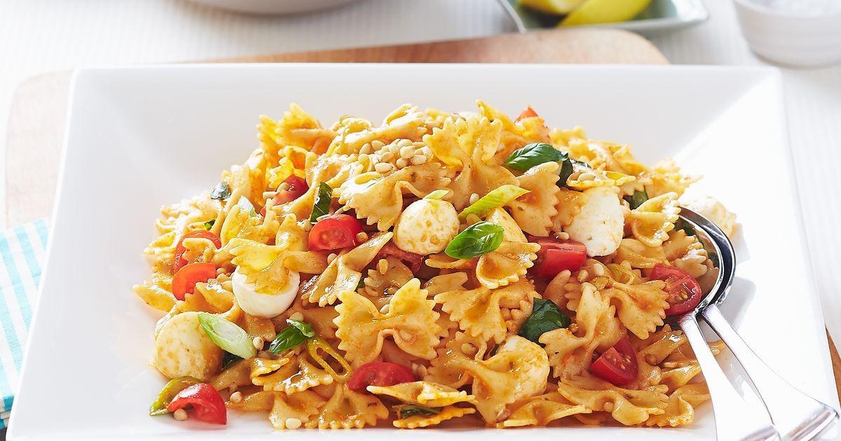 Farfalle Pasta Salad Recipe  Farfalle pasta salad with bocconcini and sundried tomato pesto