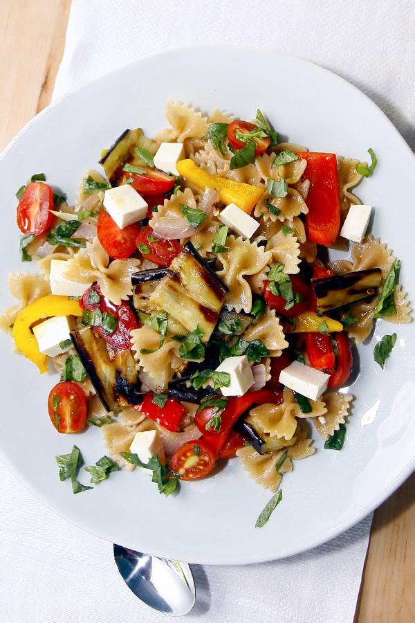 Farfalle Pasta Salad Recipes  Whole Wheat Farfalle Pasta Salad with Peppers Eggplant
