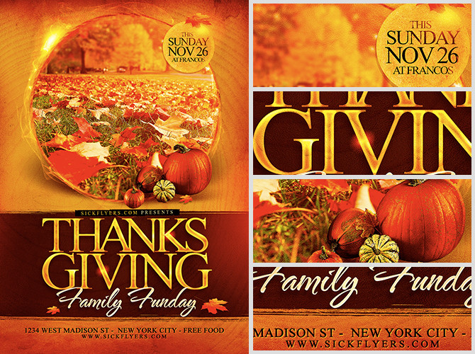 Festival Foods Thanksgiving Dinners  Thanksgiving Funday Flyer Template FlyerHeroes