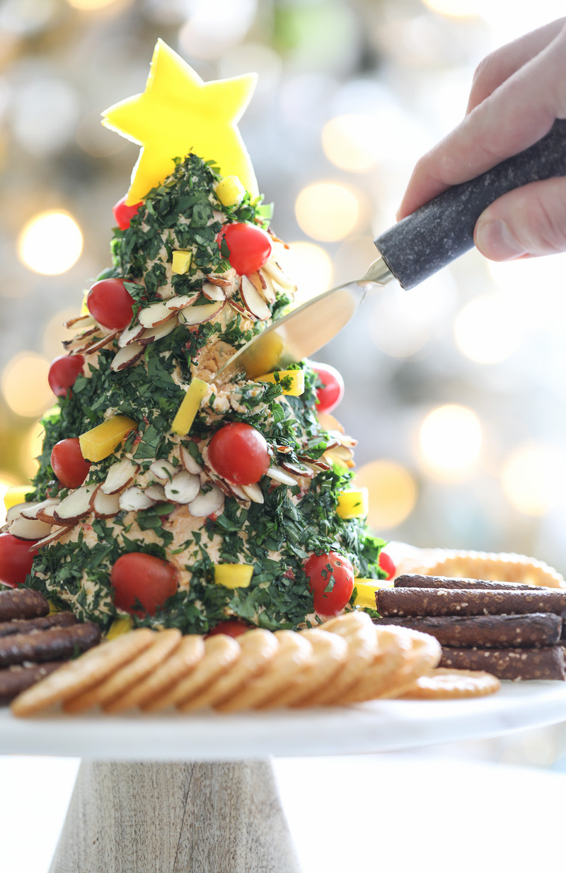Festive Christmas Appetizers  A Festive Christmas Tree Cheese Ball Appetizer Recipe