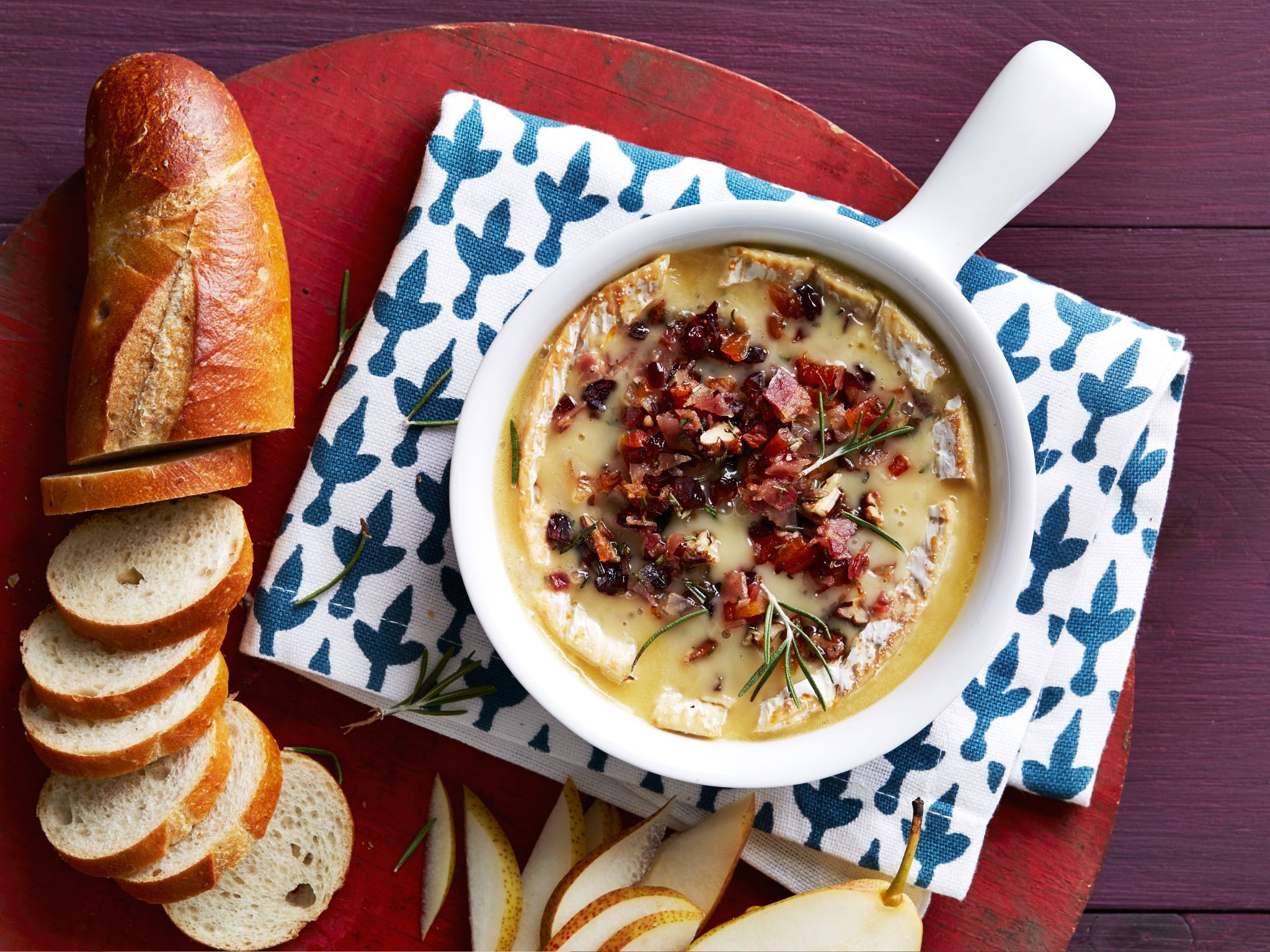 Food Network Christmas Appetizers  Baked Brie with Cranberry Pecan Bacon Crumble
