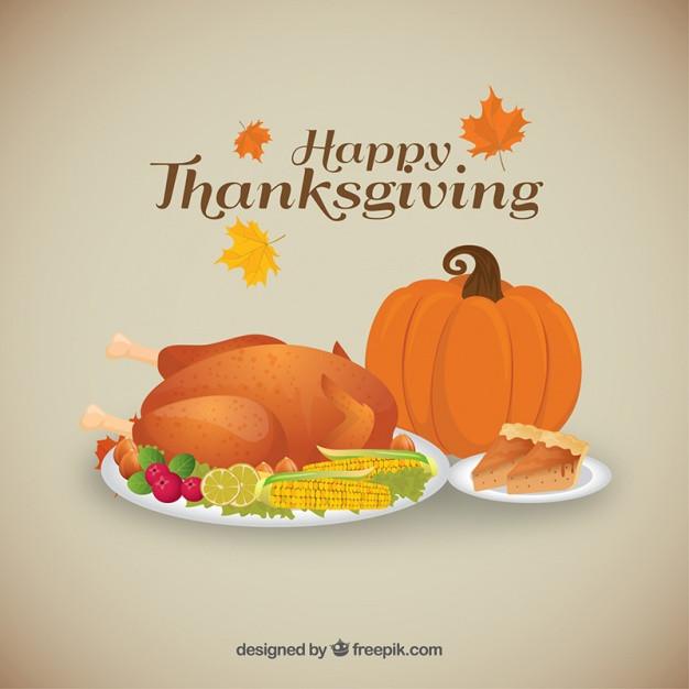 Free Thanksgiving Dinner  Background of tasty thanksgiving dinner Vector
