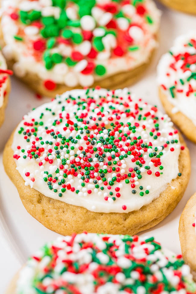 Frosted Christmas Cookies  Soft Frosted Holiday Sprinkles Cookies Averie Cooks