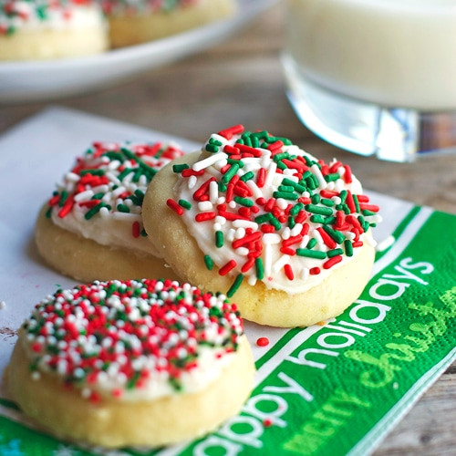 Frosting For Christmas Cookies  Fluffy Sugar Cookies & Vanilla Frosting Pinch of Yum