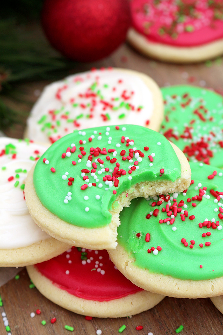 Frosting For Christmas Cookies  Christmas Sugar Cookies with Cream Cheese Frosting Sweet