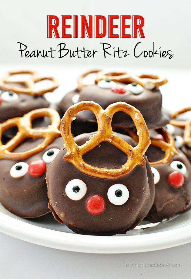 Fun Easy Christmas Cookies  Reindeer Peanut Butter Ritz Holiday Cookies