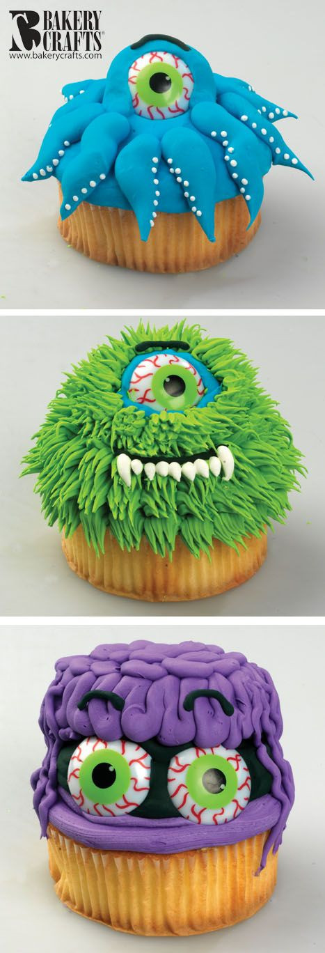 Funny Halloween Cupcakes  Funny Monster Cupcakes I think any cake mix would work
