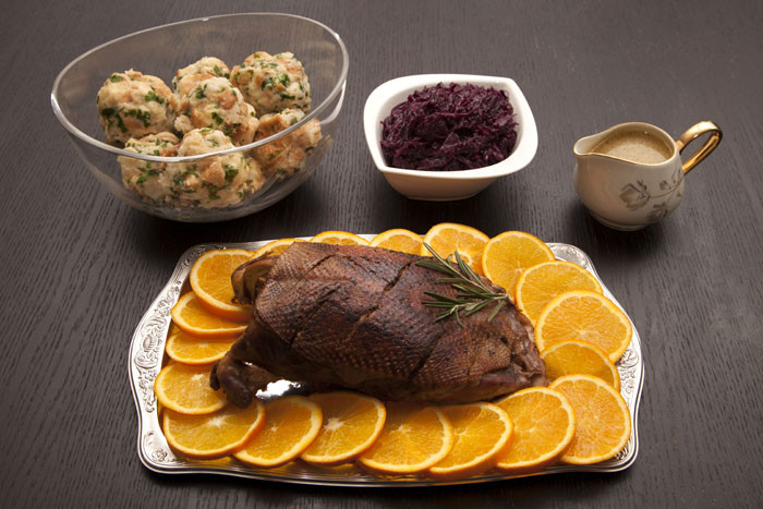German Christmas Dinner  Recipe Goose Breast with Red Cabbage and Bread Dumplings