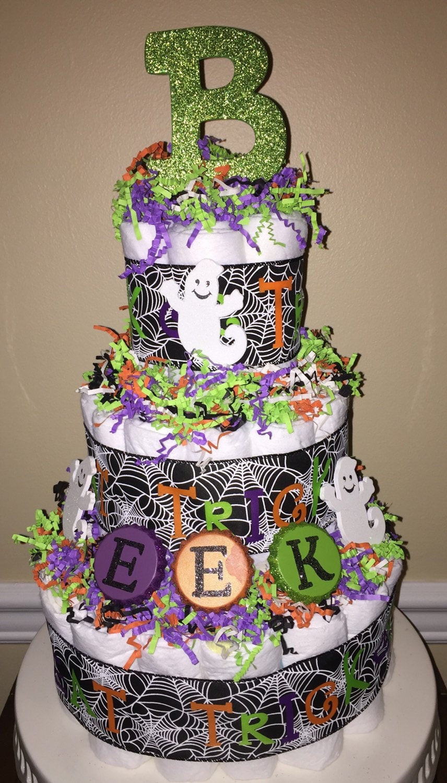 Halloween Baby Shower Cakes  Halloween 3 tier diaper cake gender neutral baby shower orange