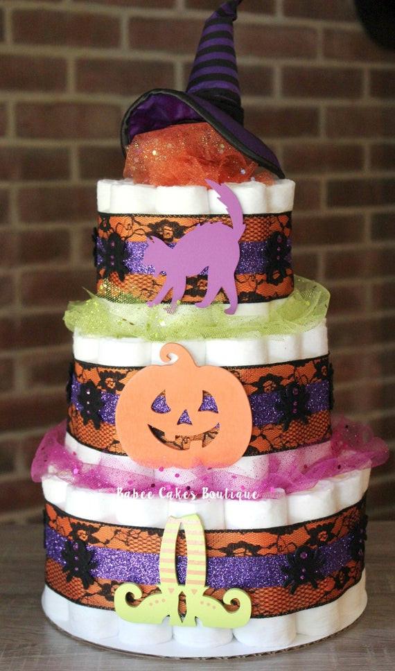 Halloween Baby Shower Cakes  3 Tier Halloween Diaper Cake Halloween Baby by
