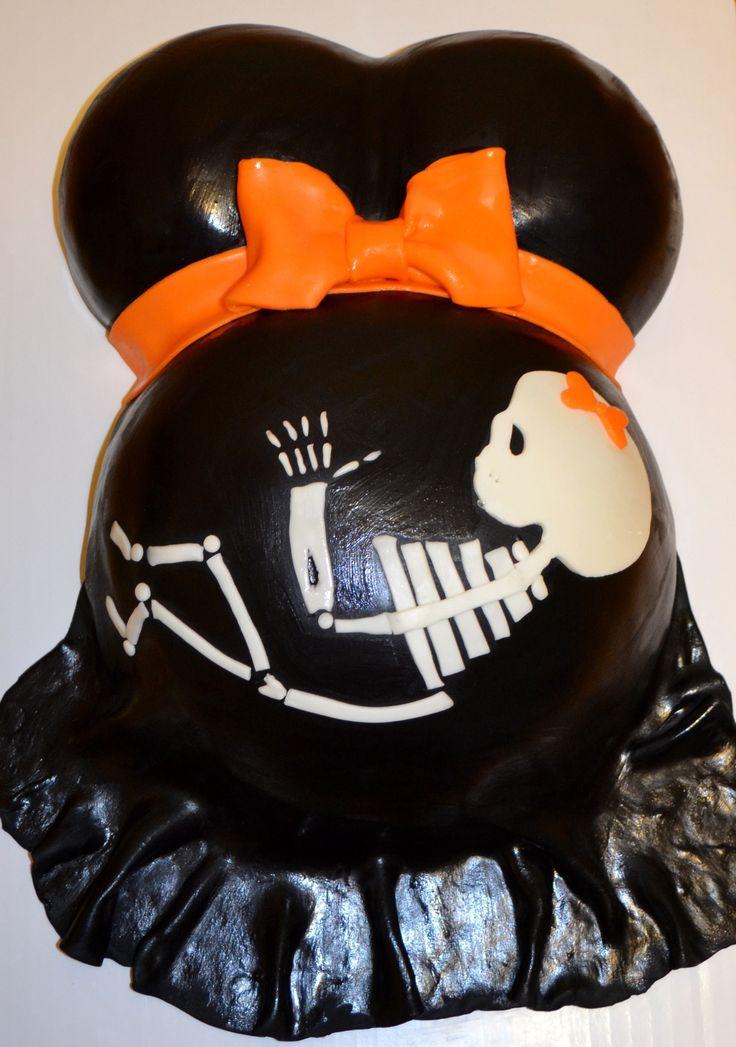 Halloween Baby Shower Cakes  Baby skeleton pregnant belly Halloween baby shower cake