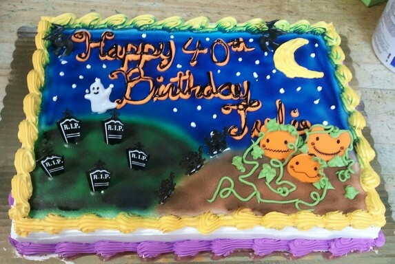 Halloween Birthday Sheet Cakes  Halloween themed birthday sheet cake