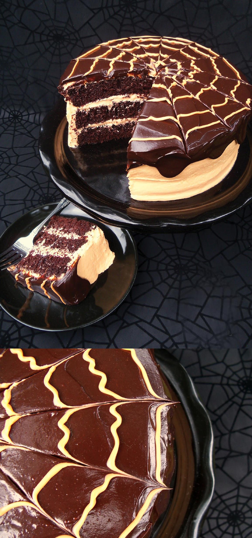 Halloween Cake Recipe  Spooky Chocolate Orange Spider Cake with Cream Cheese