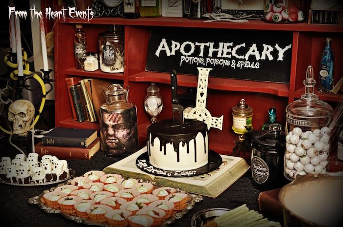 Halloween Cakes Games  Kara s Party Ideas Creepy Apothecary Vintage Halloween