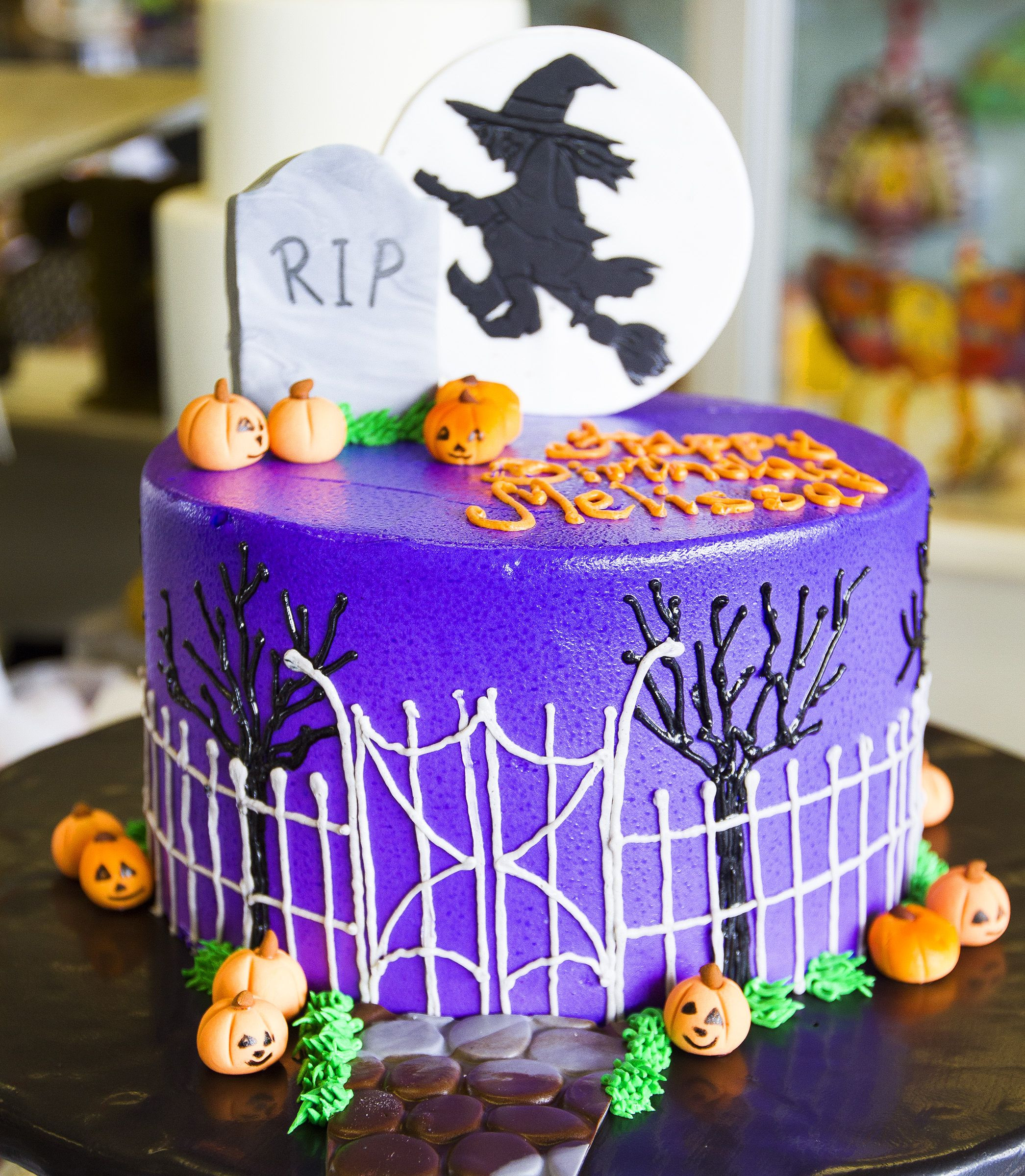 Halloween Cakes Pinterest  A spooky graveyard and witch cake for a Halloween birthday