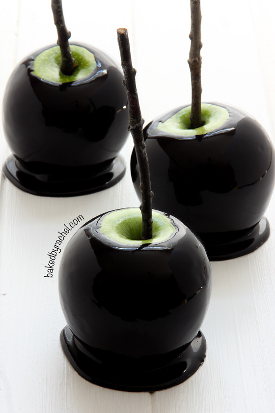 Halloween Caramel Apples  Baked by Rachel Spooky Black Caramel Apples