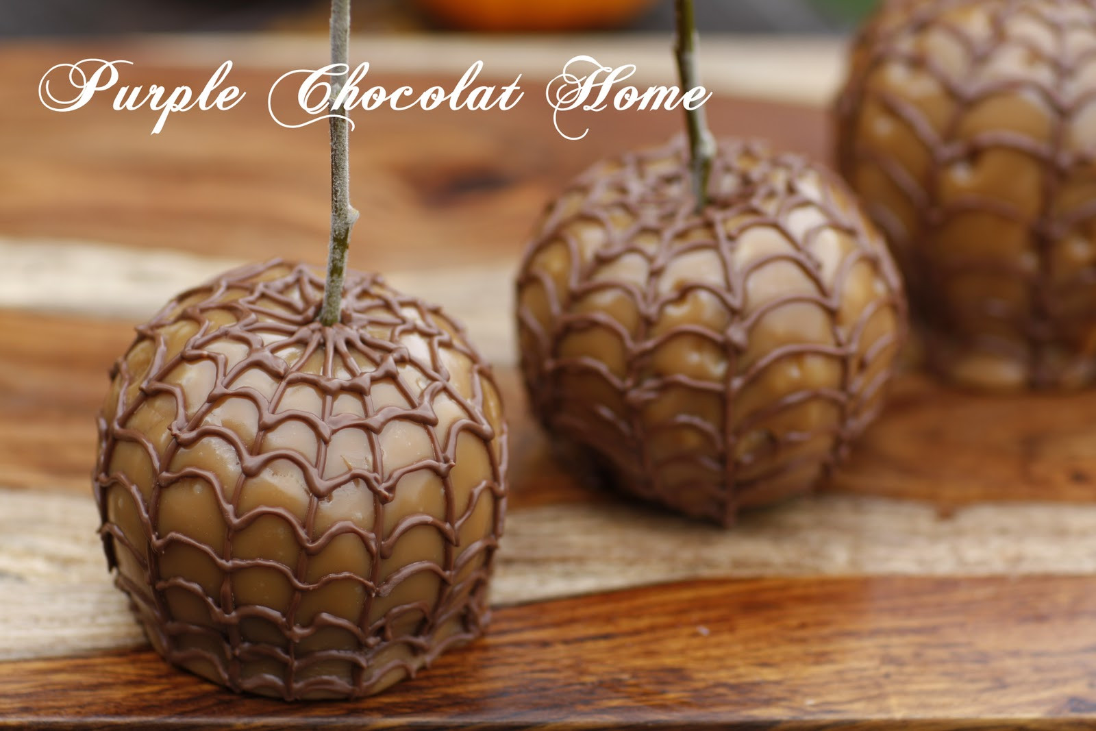 Halloween Caramel Apples  Spider Webbed Caramel Apples Purple Chocolat Home