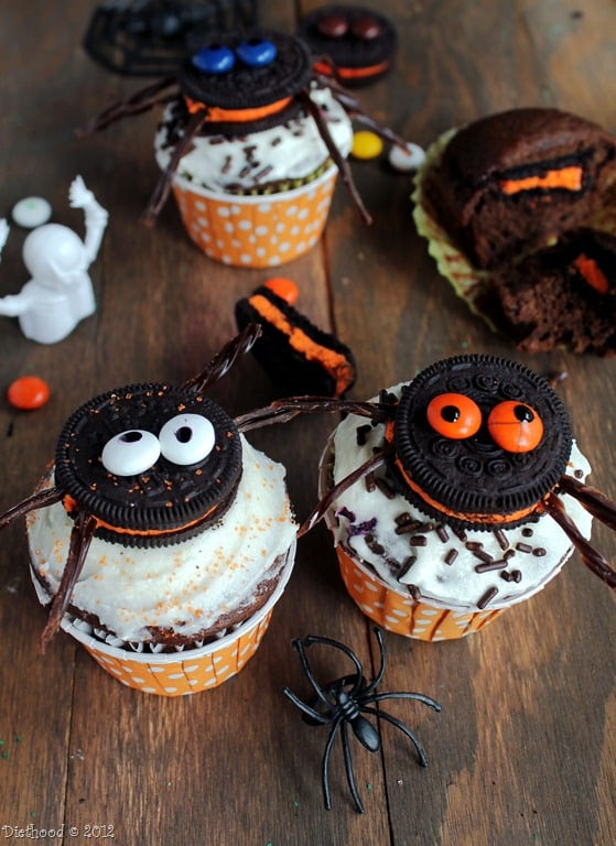 Halloween Cookies And Cupcakes  Spider Oreo Cupcakes