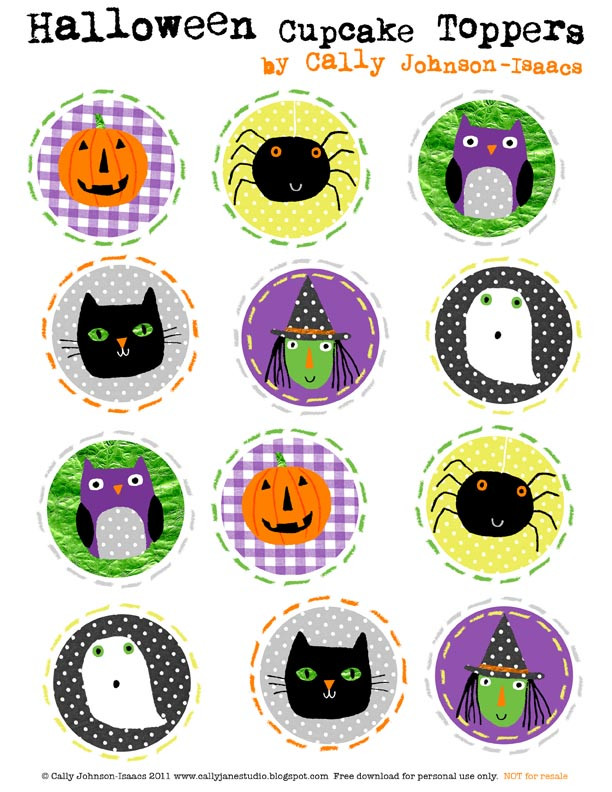 Halloween Cupcakes Toppers  We Love to Illustrate Happy Halloween Cupcake Toppers