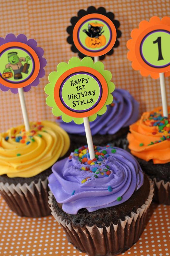 Halloween Cupcakes Toppers  Halloween Cupcake Toppers 1st Birthday Halloween Birthday