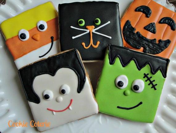 Halloween Decorated Sugar Cookies  Halloween Cookies Frankenstein Vampire Candy Corn Black Cat