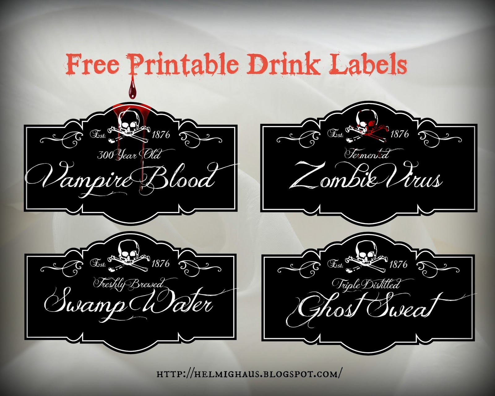 Halloween Drinks Labels  HelmigHaus Free Halloween Party Table Labels