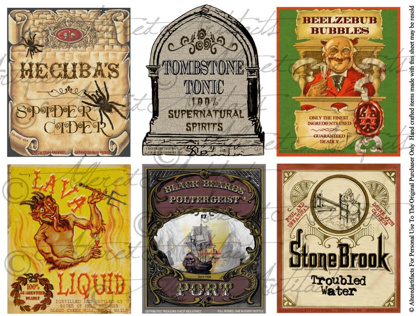 Halloween Drinks Labels  Printable Halloween Drinks Labels Wine Water Punch Drink