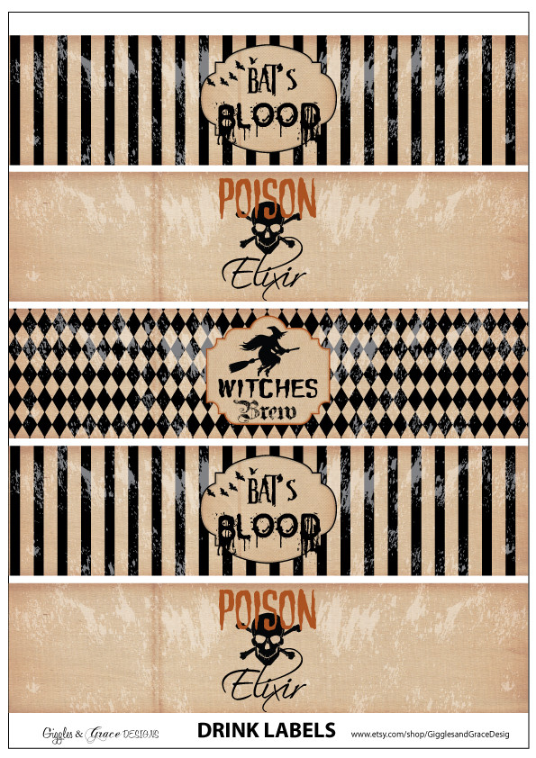 Halloween Drinks Labels  FREE Halloween Party Printables from Giggles & Grace