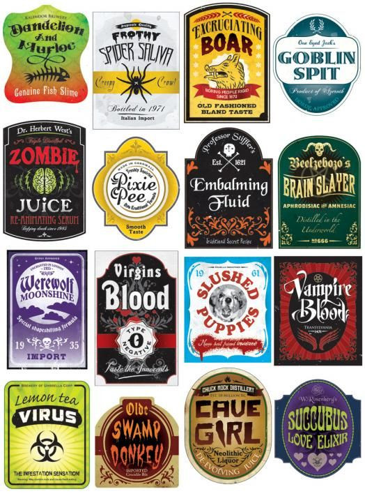 Halloween Drinks Labels  Poisions and Potions on Pinterest
