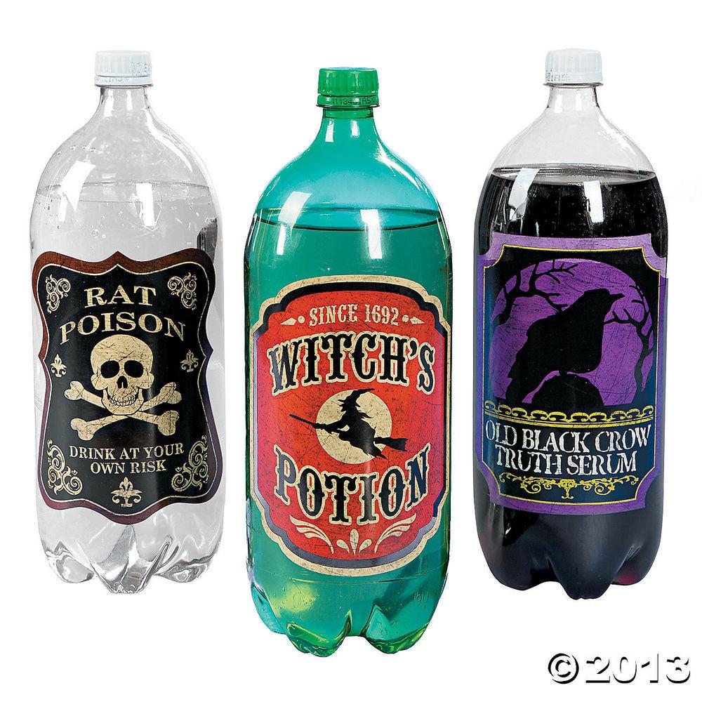 Halloween Drinks Labels  12 HALLOWEEN Party Decoration 2 Liter DRINK Soda Poison