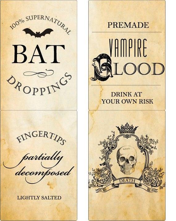 Halloween Drinks Labels  Halloween Poison Labels Wine Label Beer Label Drink