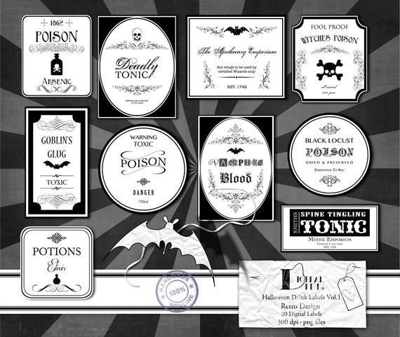 Halloween Drinks Labels  Items similar to Halloween Drink Labels Vol 1 Retro