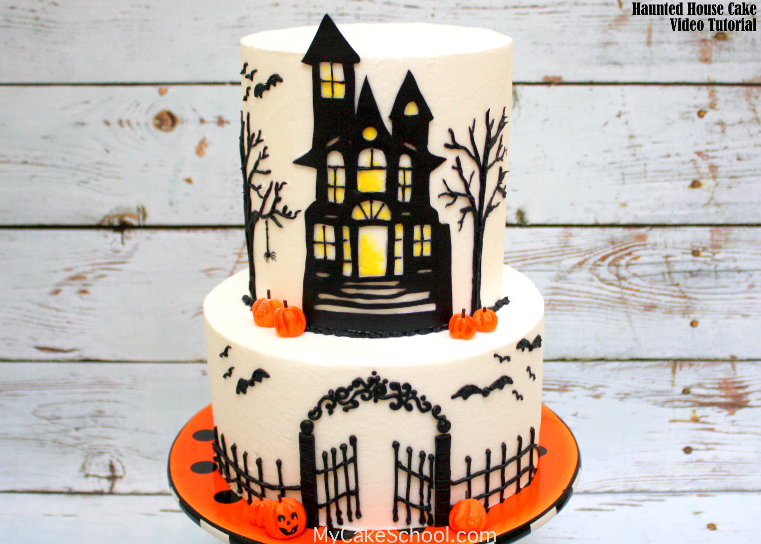 Halloween Fondant Cakes  How to Make a Haunted House Cake Cake Decorating Video