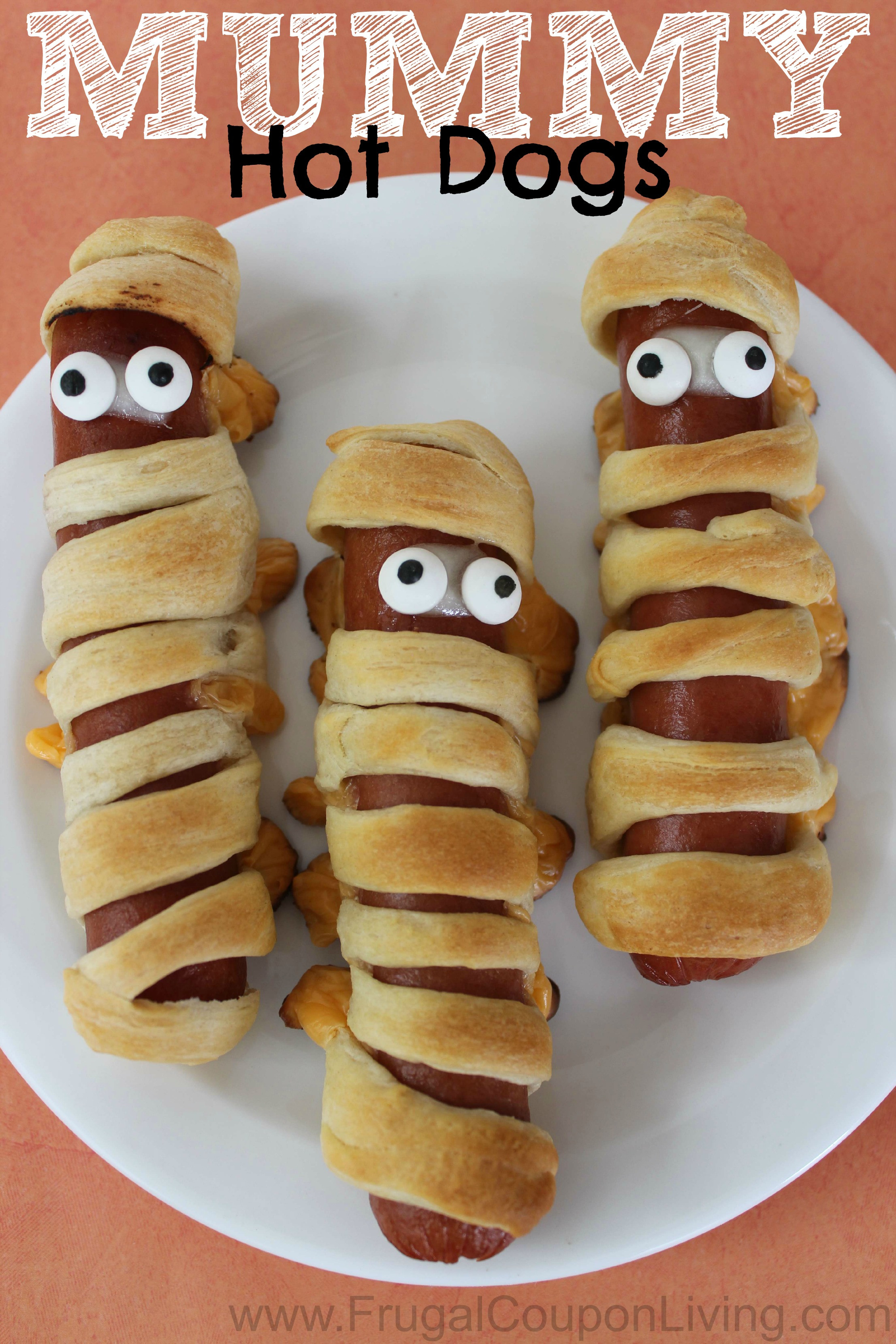 Halloween Hot Dogs Mummy  Halloween Mummy Hot Dogs with Crescent Rolls