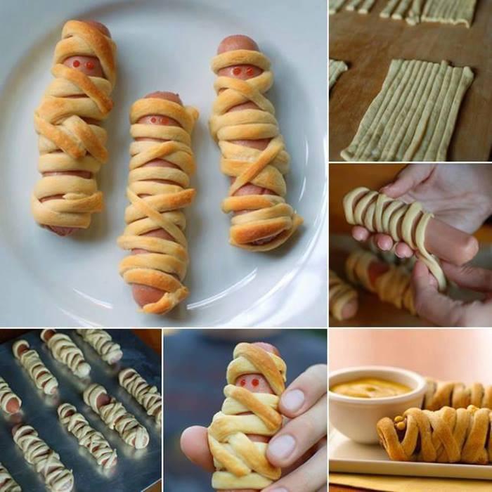 Halloween Hot Dogs Mummy  10 Kreative Ideer til halloween smabarnsforeldre