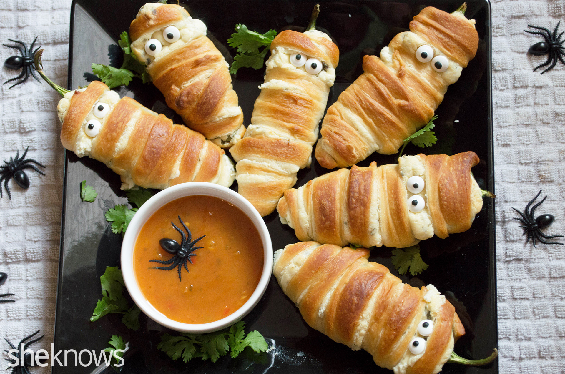 Halloween Jalapeno Poppers  Transform jalapeño poppers into mummies for the cutest